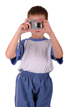 compact camera: Young photographer with compact camera