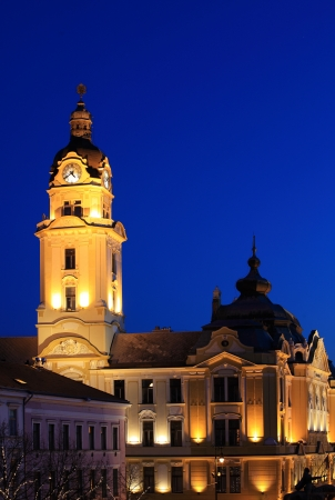 pecs: City hall in evening Pecs, Hungary