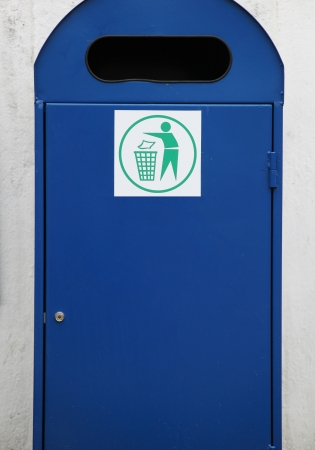 Blue rubbish and recycle bin photo