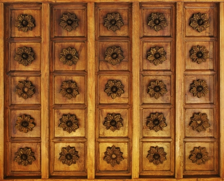 inlaid: Wooden inlaid ceiling texture background Stock Photo