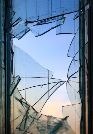 Broken windows glass fragments detail Stock Photo