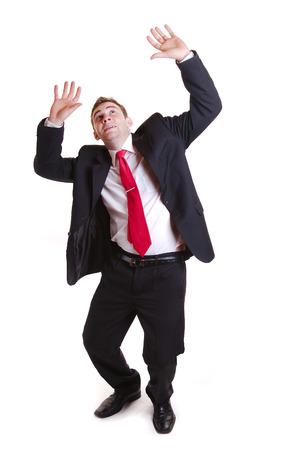 freaked: Businessman scared and shoked-isolated on white Stock Photo