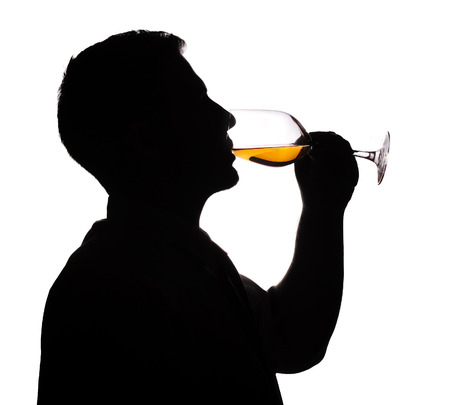 Wine expert testing wine silhouette image photo