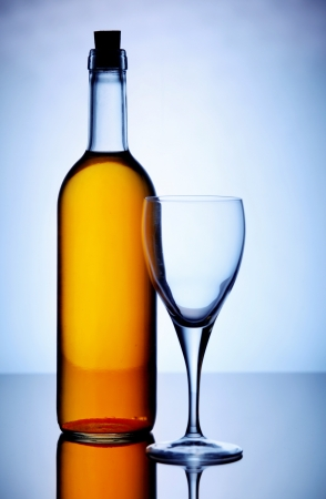 White wine with glass against bluish background photo