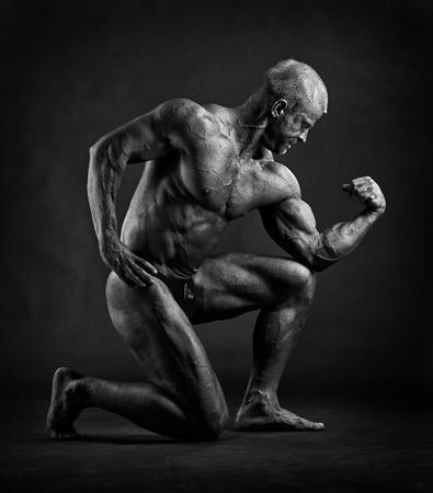 cuerpo hombre: Culturista masculino muscular que presenta en el estudio