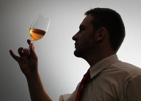 yellows: Wine expert testing wine silhouette image