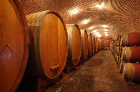 Weinfässer im Weingewölbe, um