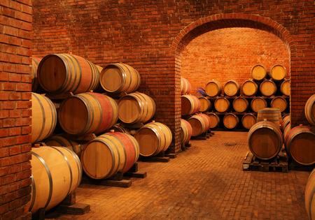oenology: Wine barrels in wine-vaults in order