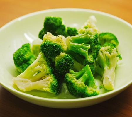 brocoli: Boiled green broccoli in plate