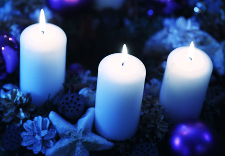 Candles with christmas decoration