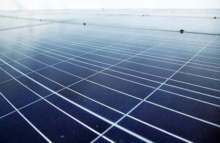 Detail of blue solar panels photo