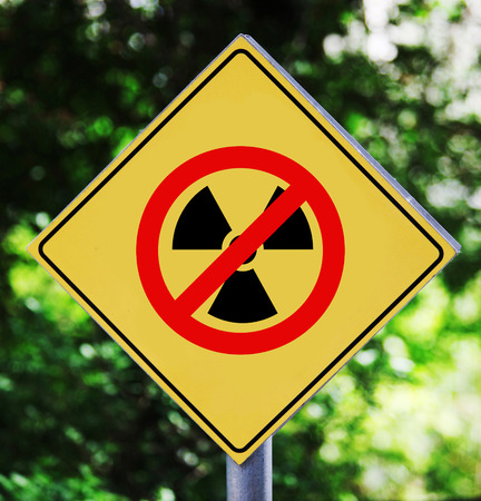 no nuclear: Yellow traffic label with no nuclear pictogram Stock Photo