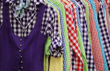 chequer: Various colorful hanging chequer shirts