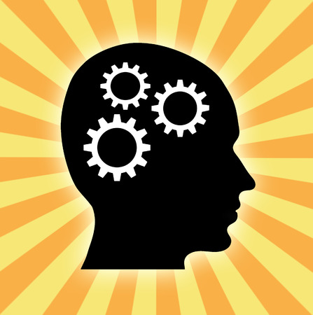 sideview: Sideview of silhouette head with three wheel gears against stardust background Stock Photo