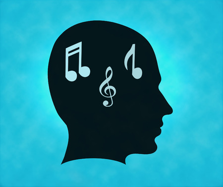 Profile of silhouette with musical notes symbol photo