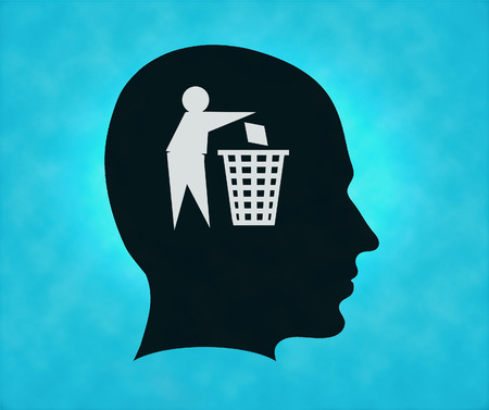 Profile of silhouette with tidy man symbol photo