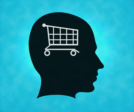 empty basket: Profile of silhouette with shop symbol