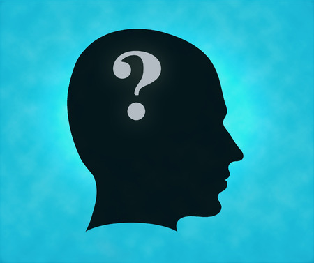 sideview: Sideview of silhouette head with question mark