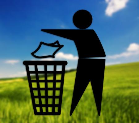 littering: Tidyman symbol against beautiful  Stock Photo