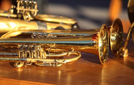 テーブルに管楽器を吹いています。