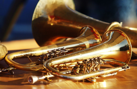 saxhorn: Blowing brass wind instrument on table