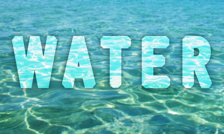 Water surface with water text               photo