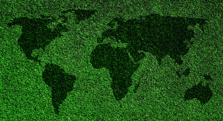 World map on grass background photo