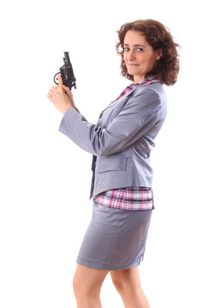 armed: Young beauty business woman with gun