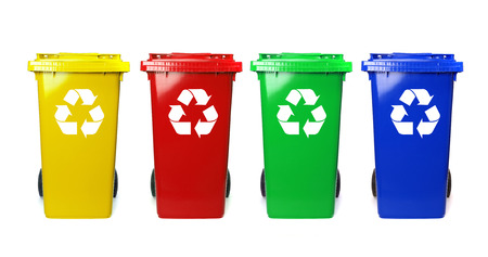 trash can: Four colorful recycle bins on white
