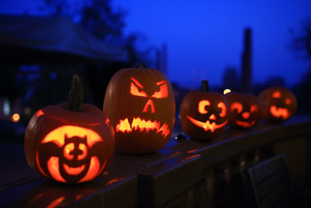 Moonlight lanterns: Funny halloween pumpkins at night