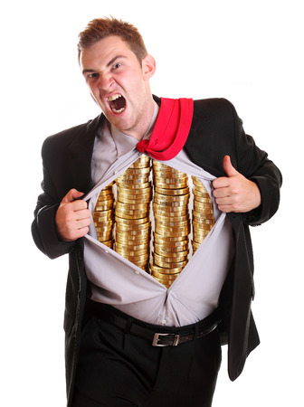 frantic: Businessman tearing his shirt coins piles it on