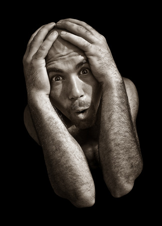 desperate: Desperate and fearful Schizophrenic Man Stock Photo