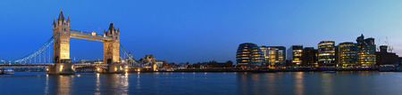 london city: Tower Bridge and the Thames panoramic view about London at night