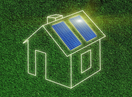 panels: Solar panels on house Stock Photo