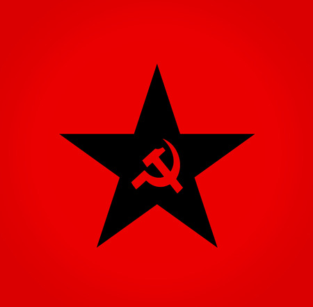 Soviet symbols red hammer and sickle colorStar photo