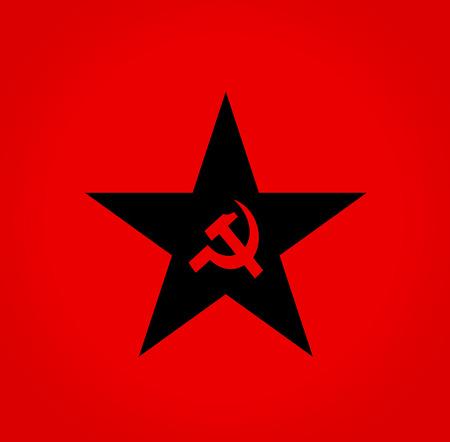 socialist: Soviet symbols red hammer and sickle colorStar