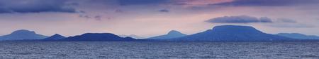 balaton: Lake Balaton panorama landscape with Badacsony Stock Photo