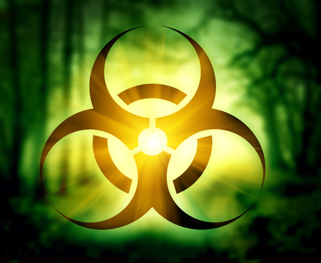 chemical weapon sign: Biohazard symbol with glowing forest