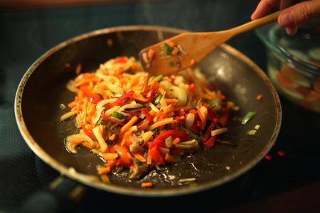 wok: Cooking asian food in wok
