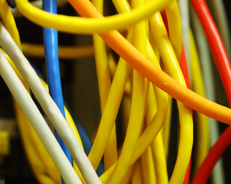 cable tangle: Colorful tangled wires ethernet computer Stock Photo