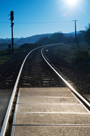 curve road: Curve railway road at blue sky