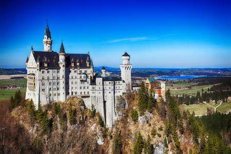 fairy tale: View of Neuschwanstein castle in Bavarian