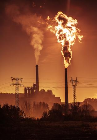 globalwarming: Power station with smoking chimney Stock Photo