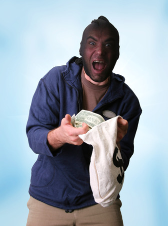 bank robber: Masked bank robber with money sack Stock Photo