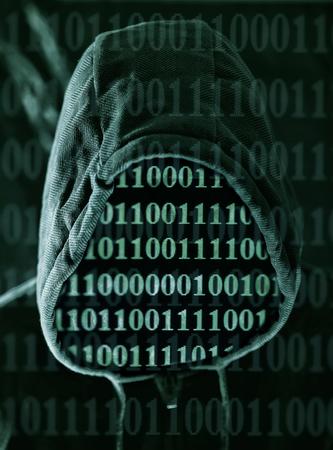 unknown men: Man in hood with digital numbers
