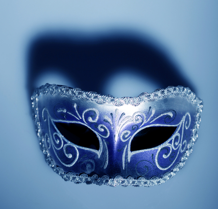Carnival mask with shadow in blue color