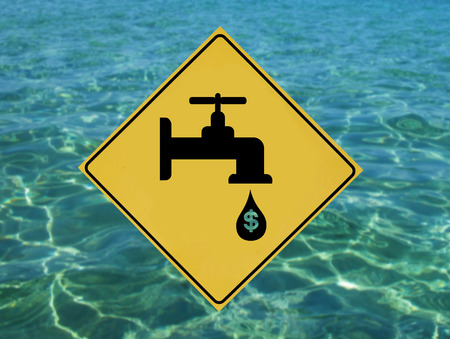 Yellow label with traffic leaking faucet pictogram