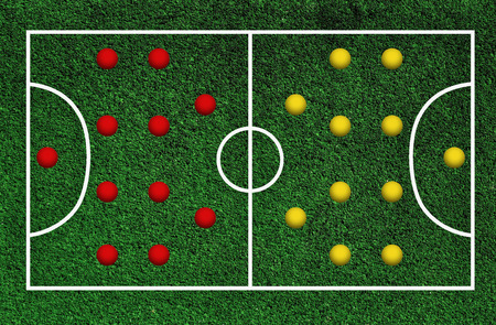 Green football pitch with lines Stock Photo