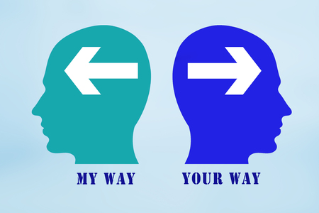 contradict: My Way Your Way sign Stock Photo