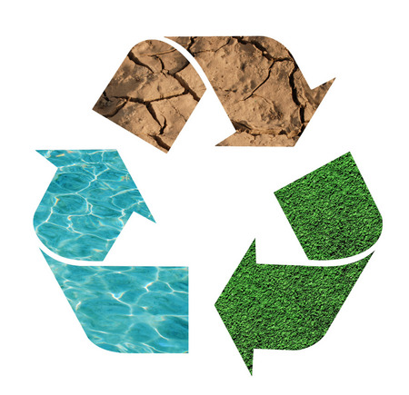 circulate: Recycling sign with nature symbols